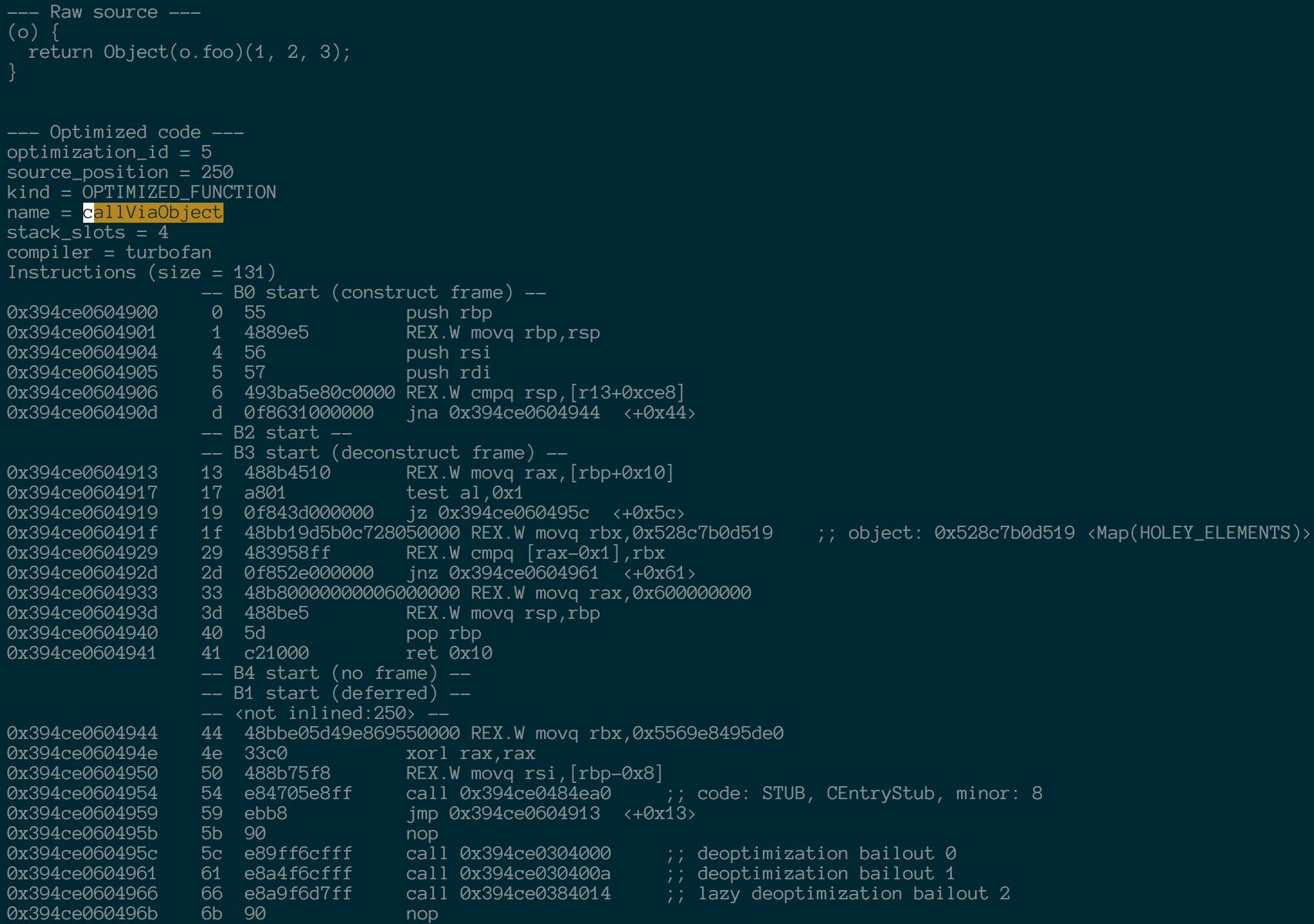 callViaObject optimized code (new)
